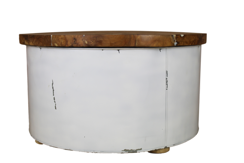 Salontafel drum (white resin) Teak/wit 75*75*40