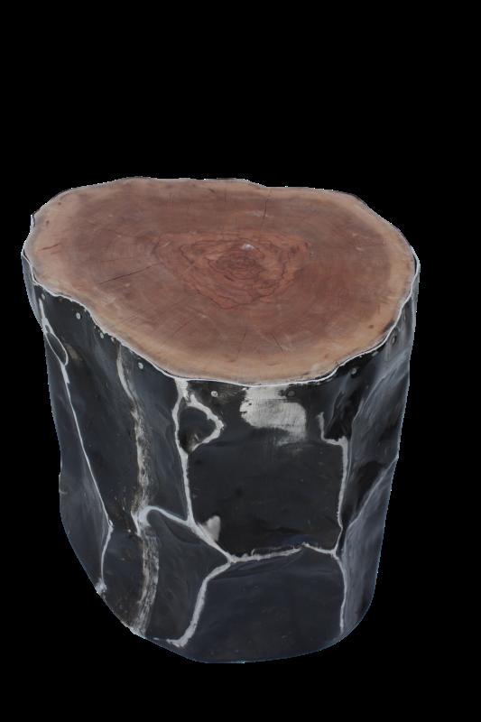 Black Penyok Stool Leci/Alluminium 40*40*40