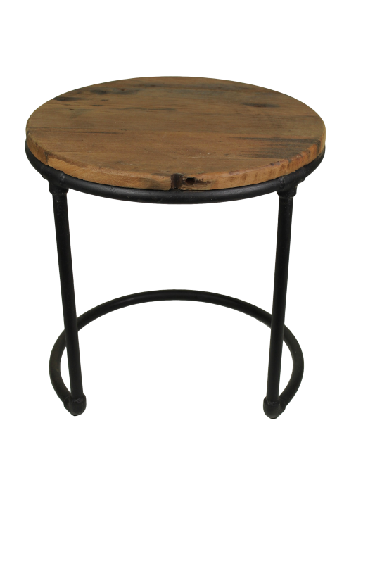 End table round wood/metal 45*45*46