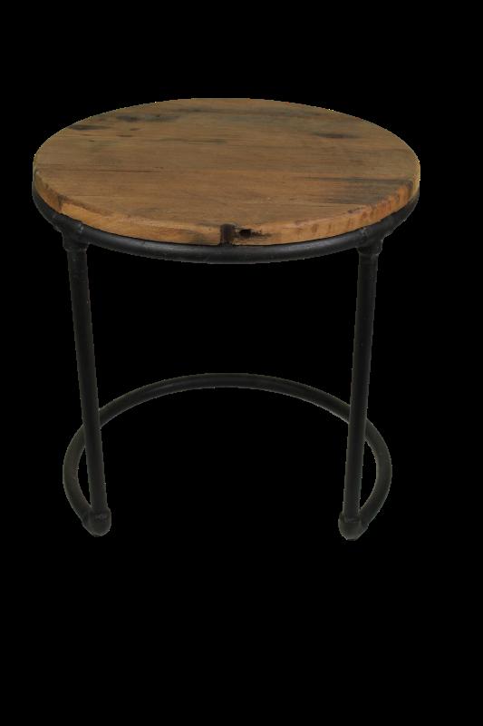 End table round wood/metal 45*45*46