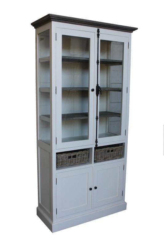 Cabinet 4deur 2mand Ral Wit/grey wash 105*45*210