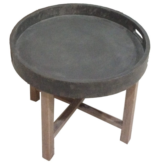 Folding round coffee table Beton Look/white wash 55*55*45
