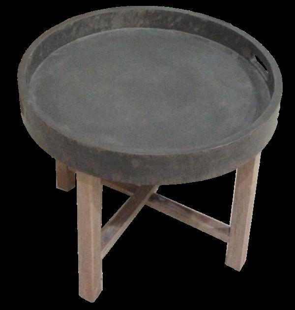 Folding round coffee table Beton Look/white wash 55*55*45