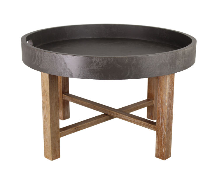 Folding round coffee table Beton Look/white wash 62*62*38