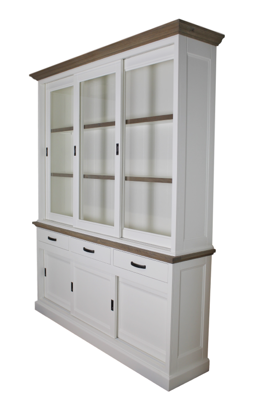 Shopcabinet Provence 3d/3drw Grey oak/Ral 9010 180*46/41*220