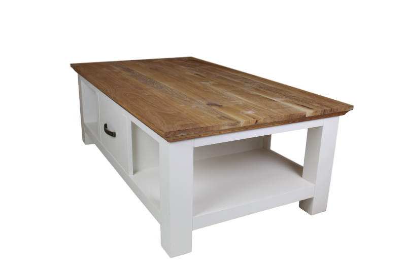 Coffee table Provence w/drawer Natural oak/Ral 9010 130*75*45