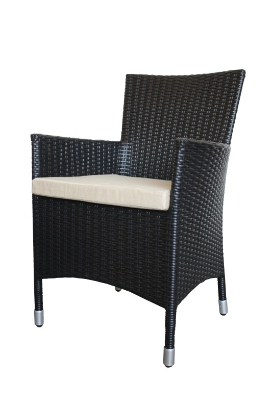 Tuin armstoel flat wicker Lambo Black 55*60*86