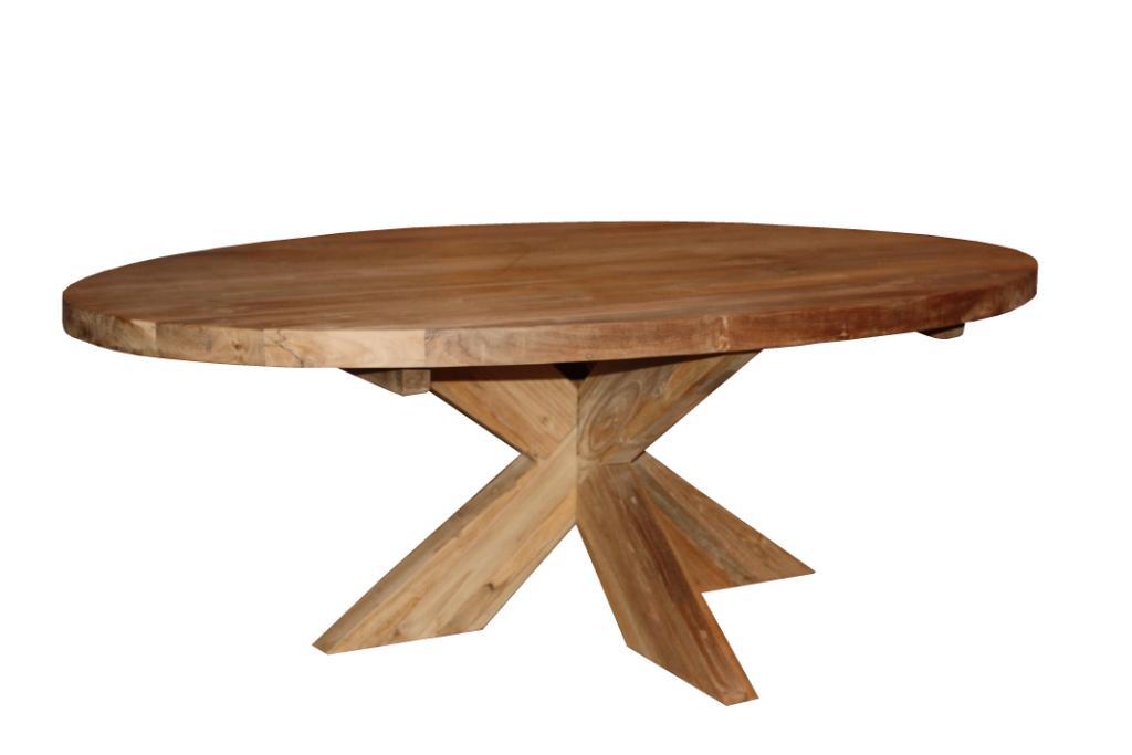 Salon tafel ovaal kruis poot blank - Producten - Henk Schram, houten ...