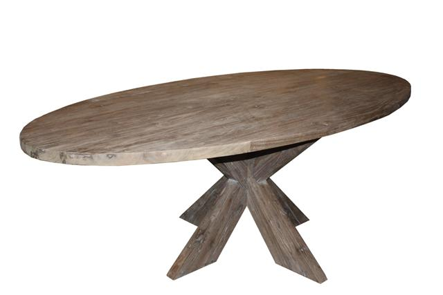 Oval dining table cross legs java wood grey wash