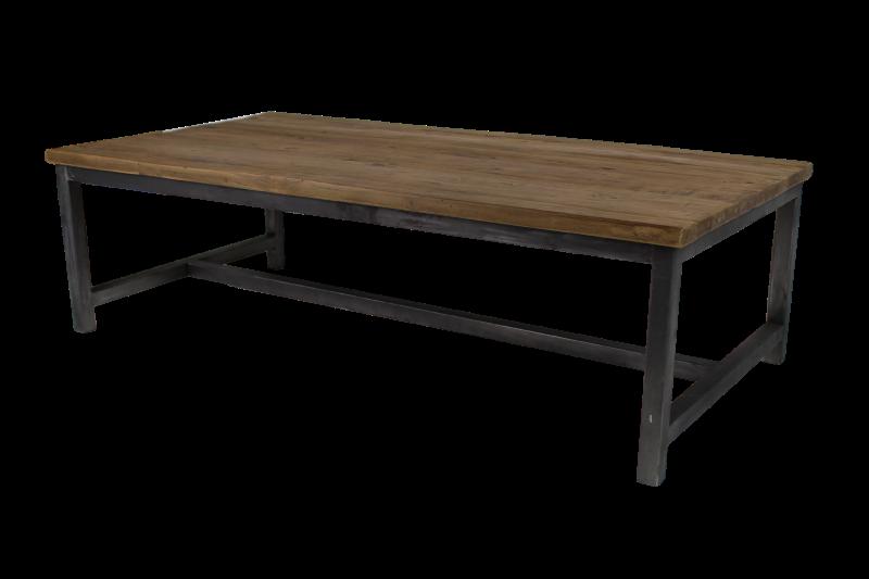 Coffeetable combi. teak/iron Dingklik teak 120*60*35 leg 3cm