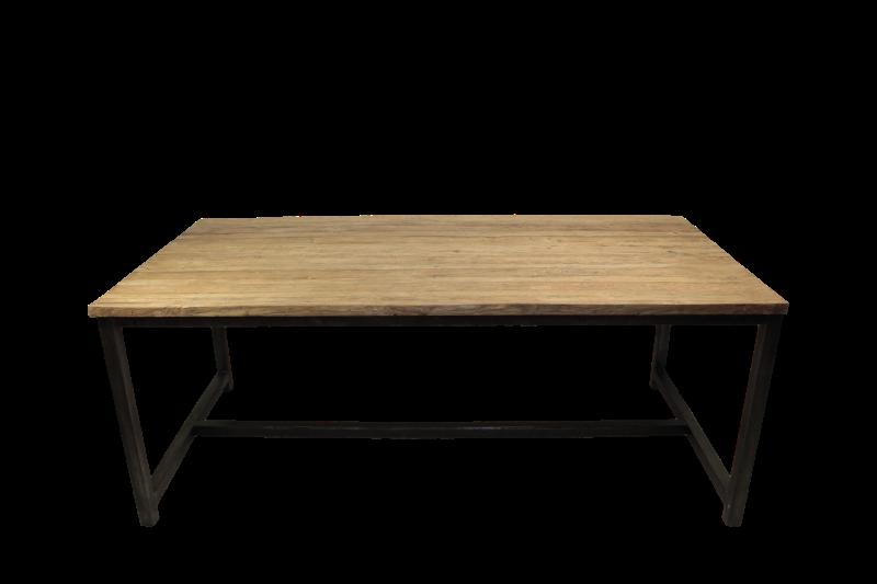Eettafel - 200x100 cm - blank - teak/ijzer