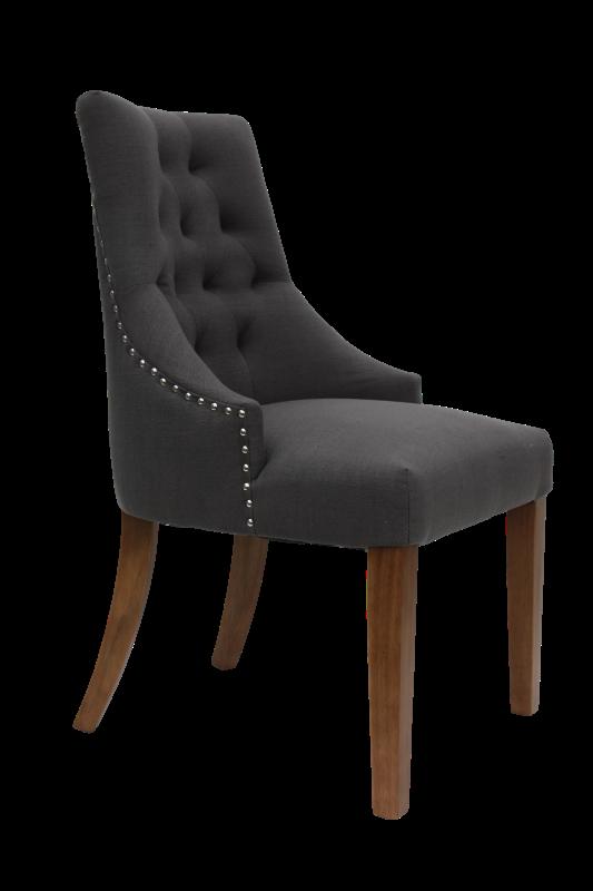 Stoel Royan Light grey linnen/vintage legs