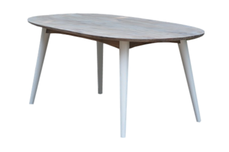Tafel ovaal Norway Vint.natural/ral wit 180*100*78