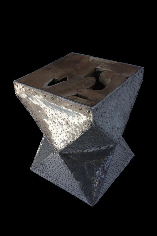 Piramid Stool Teak/Alluminium 35*35*45