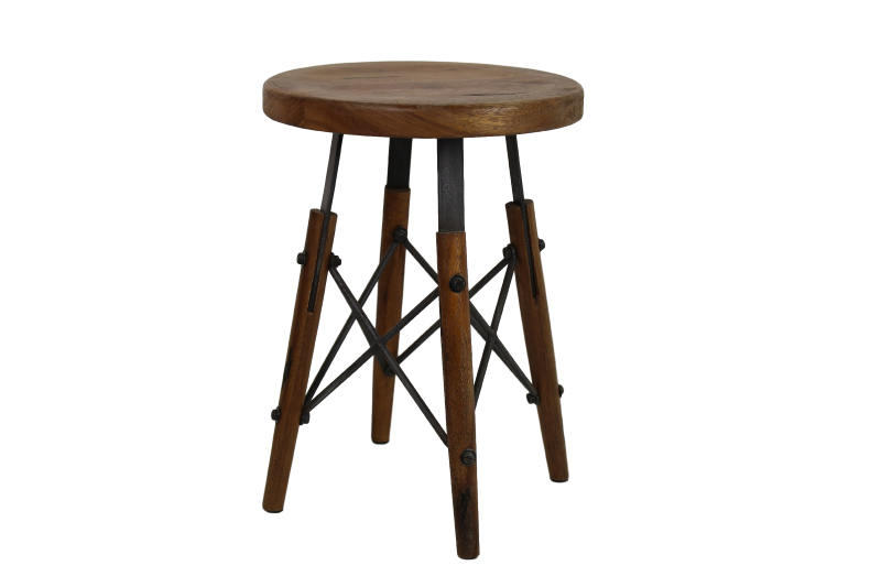 Sagmore Alice stool Tea brown/iron 32*32*45