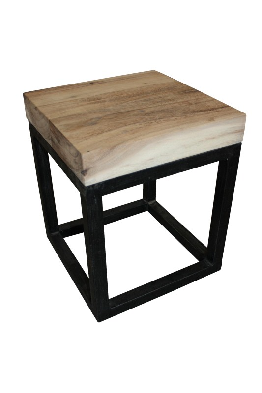 Stool iron frame square top Black 35*35*45