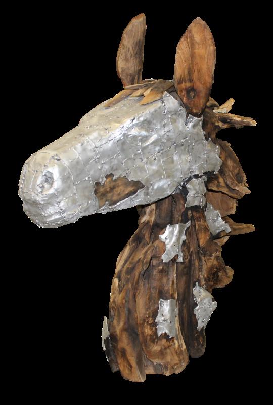 Beeld paardenhoofd - teak/aluminium - root hout/ijzer