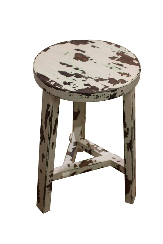 Stool rubber wood Old white 52*30*30