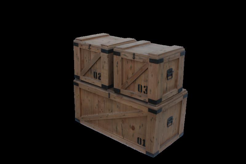 Storage box Vintage S/3 Teak/wax 91*46*43